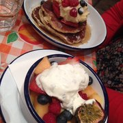 Fruit with mint and yogurt plus amazing Pancakes