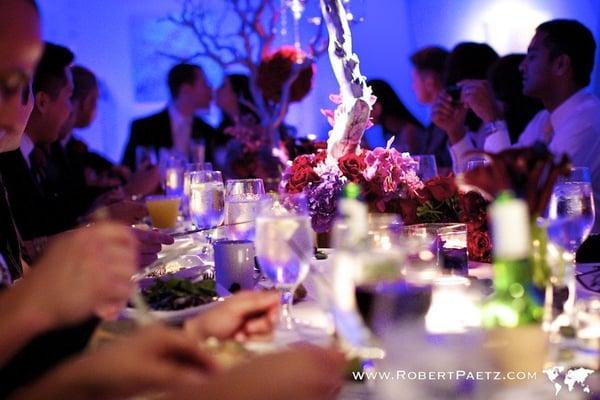 Long table setup for a wedding