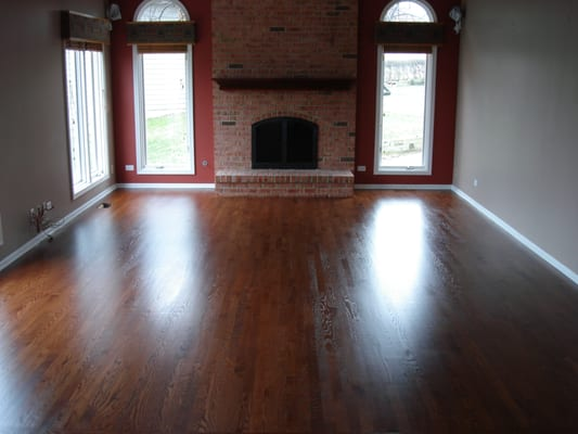 Red oak flooring with sedona red stain yelp for Hardwood floors lake zurich