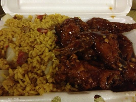 Chicken wings in garlic sauce with pork fried rice.   Yelp