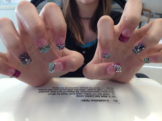 4 color glitter powder, zebra theme nail art | Yelp