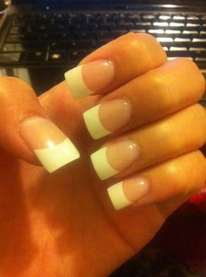 Just normal white tip acrylic nails by linh :) $30?? | Yelp