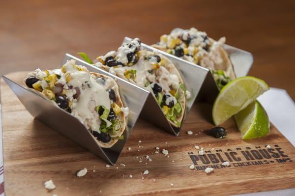 Chicken Street Tacos - Roasted Corn and Black Bean Salsa, Queso Fresco ...