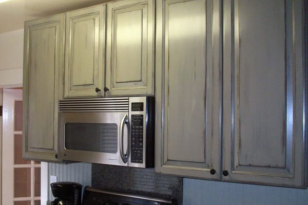 Kitchen Cabinets With Antique Paint Finish For Cottage Look Yelp