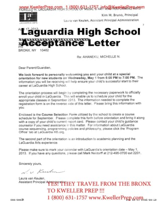 Specialized High School Entrance Exam Acceptance Letter To