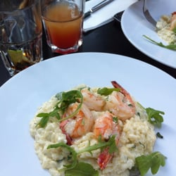 Yummy risotto with shrimp and asparagus