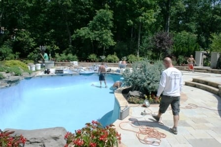 Gunite Pool Resurfacing Remodeling Paint Plaster Repair Plastering Marble Dust Cost Yelp