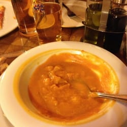 Amazing pumpkin soup, and shared a Diavola pizza