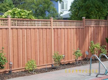 Lattice Topped Board On Board Redwood Fence Yelp