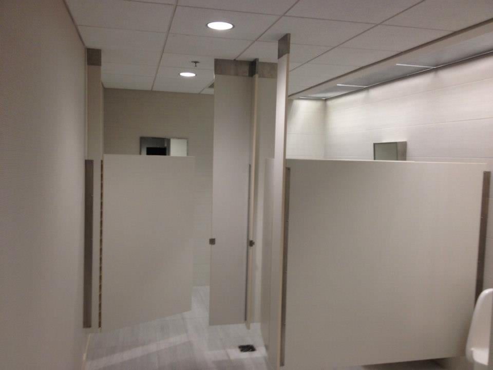 Ceiling hung toilet partitions yelp for Stainless steel bathroom partitions