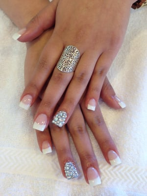 White tip acrylics with diamond design by Elegant Nails | Yelp