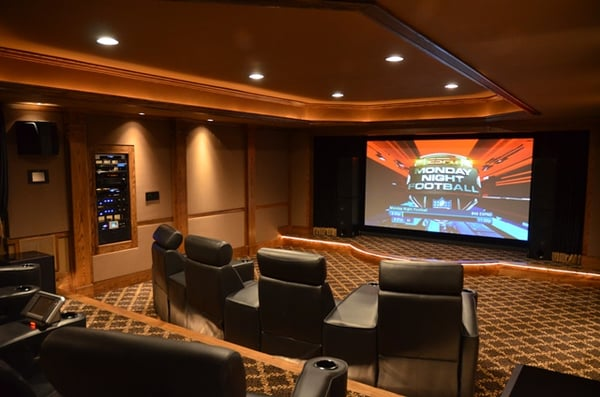 Custom Home Theater : Custom home theater featuring hidden projector, HVAC and lighting ...