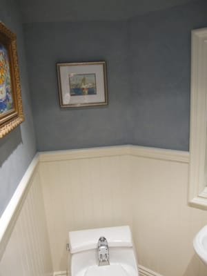 THIS BATHROOM NEEDED WAINSCOAT AND CHAIR RAIL THEN WE DID