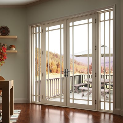 Vinyl french doors with sidelights and marginal grids yelp for Sliding french doors with sidelights