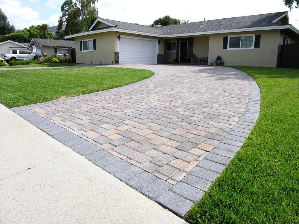 Brown Driveway Pavers : Cream brown charcoal i pattern circular driveway with