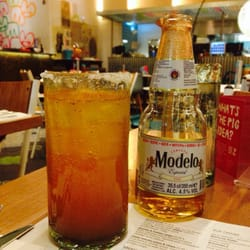 One of my favourite things here when it's done properly, an extra spicy Modelo Especial Michelada.