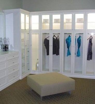 Walk In Closet With Custom Dresser Glass Door Inserts To