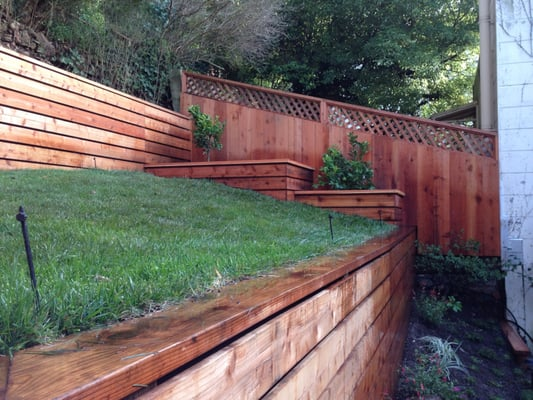 Built Retaining Wall Planter Boxes Fence And Laid Sod Yelp