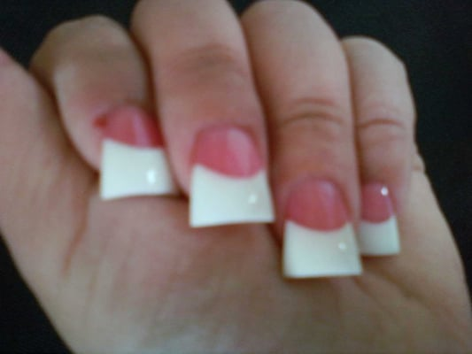 Flared White Tip Nails Pink And White Tip Nails