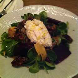 Goat's curd, beets, candied walnuts, char-grilled artichoke, chestnut & pomegranate salad with tamari ginger dressing