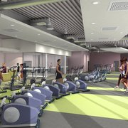 State of the art gym with 120 fitness stations and free weights area.