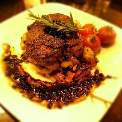 Filet mignon with a red wine reduction sauce | Yelp