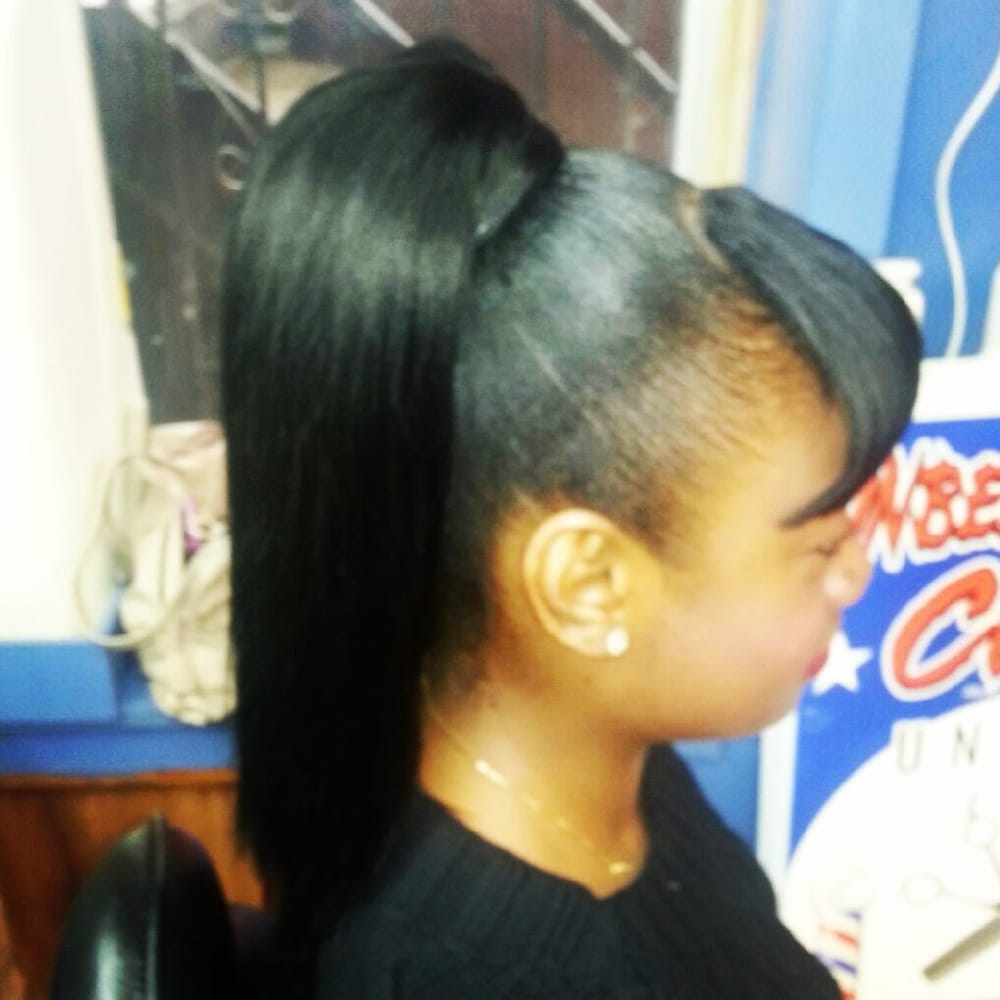 Weave Ponytail with Side Bangs