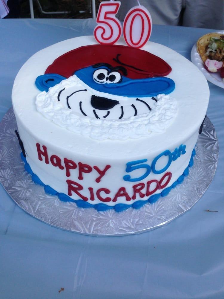 Dads 50th birthday cake! Papa smurf  Yelp