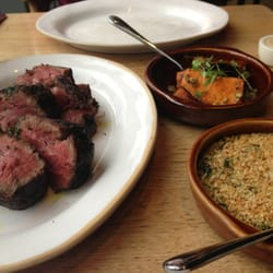 Chateaubriand with ash roasted sweet potato and creamed spinach
