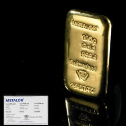 Bestselling 100g Gold Bar available at BullionByPost.co.uk - 1 kilo, 500g, 250g gold bars and more also available