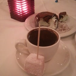 Greek  coffee which is turkish coffee and some greek rose and lemon flavor delights