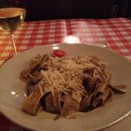 "Parpardelle with mushrooms and truffle sauce. ""House specialty"""