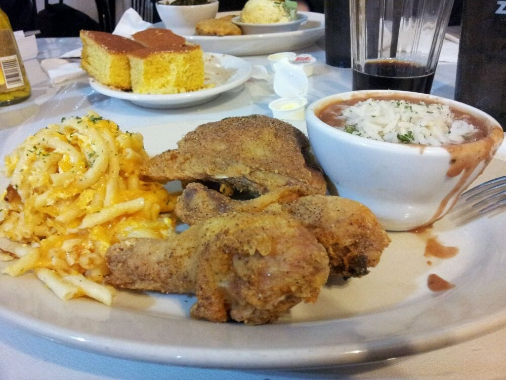 Fried Chicken with Red Beans and Rice with Macaroni and Cheese | Yelp