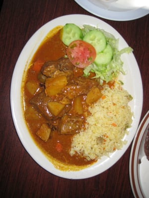 Carne Guisada (Latin American Beef Stew) w/rice & salad - You'll crav...