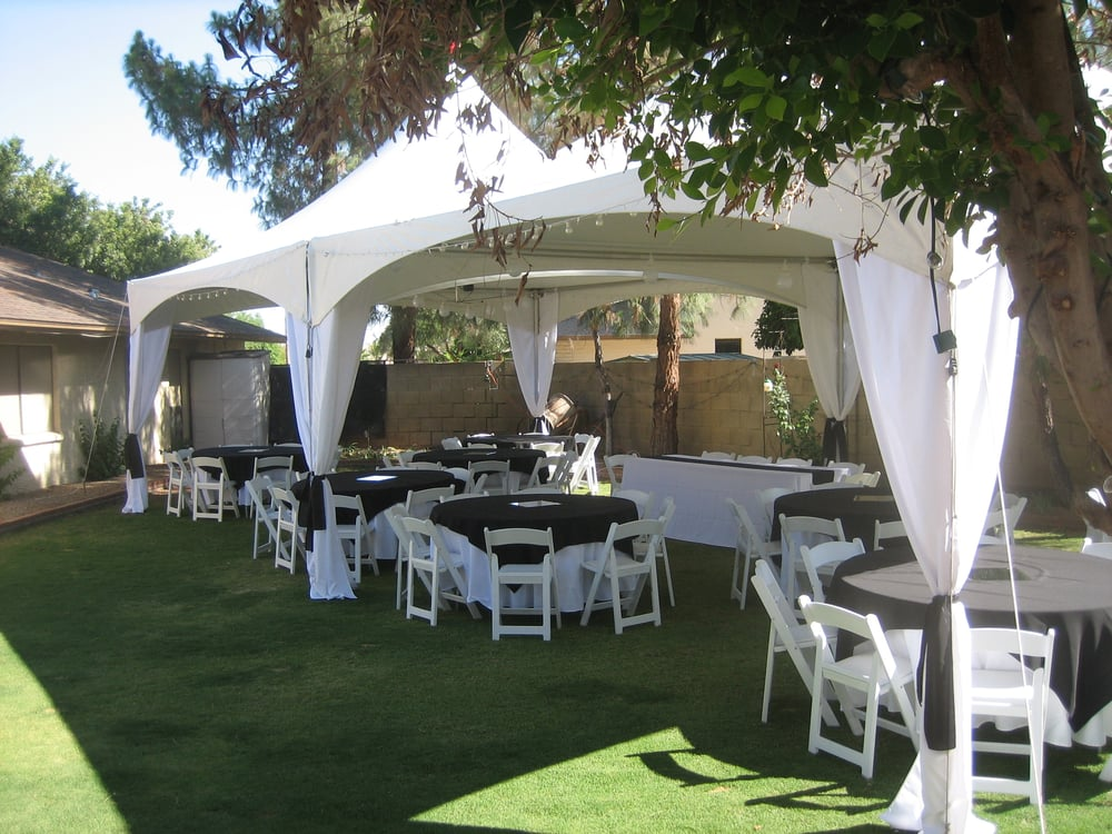 Tent Wedding In Backyard : Reception for 70  Two (2) 20x 20 tents, tables, chairs, linens