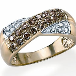 Brown & Clear Diamond 9ct Gold Ring