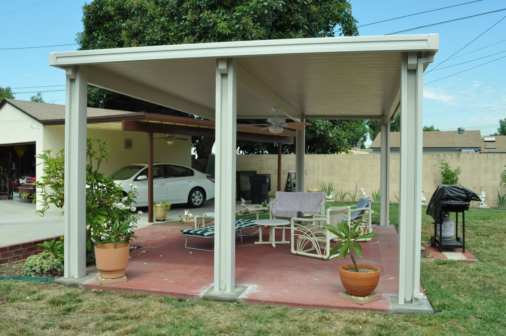 Free standing flat pan patio cover yelp for Freestanding patio cover