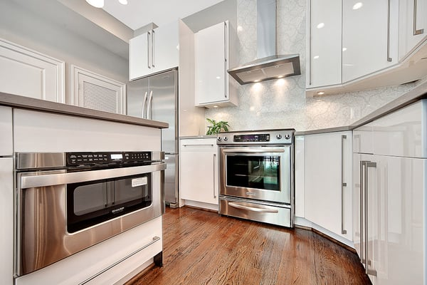 White Glossy Kitchen Cabinets, Sleek & Modern! Who needs Ikea?  Yelp