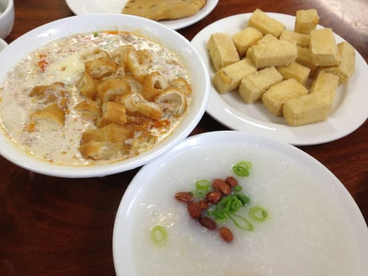 Salty soy soup with Chinese donuts, salt and pepper fried tofu, fish ...