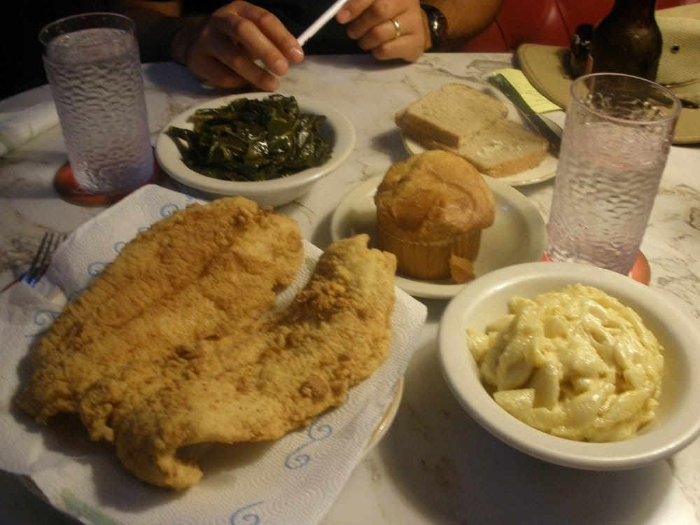 ... eggs and greens fried catfish mac and cheese collard greens at evelyn