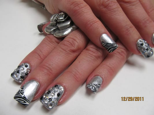 Acrylic fills with hand crafted nail art and stones | Yelp