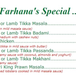 Farhana Indian Restaurant and Take Away - Menu - Farhana Specials