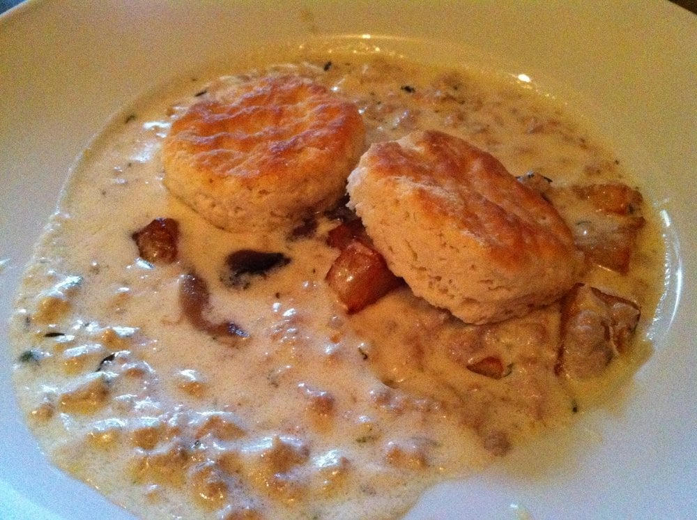 ... , sausage, red eye gravy, homemade cheddar sage biscuits) | Yelp