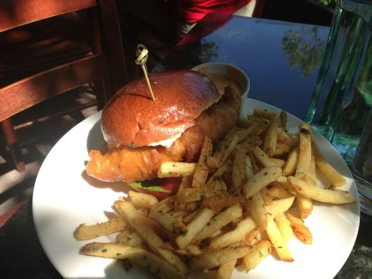 Super delicious crispy cod fish sandwich with hand cut for Fish burger near me