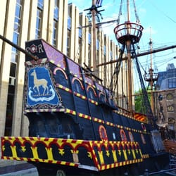 The Golden hind ship.