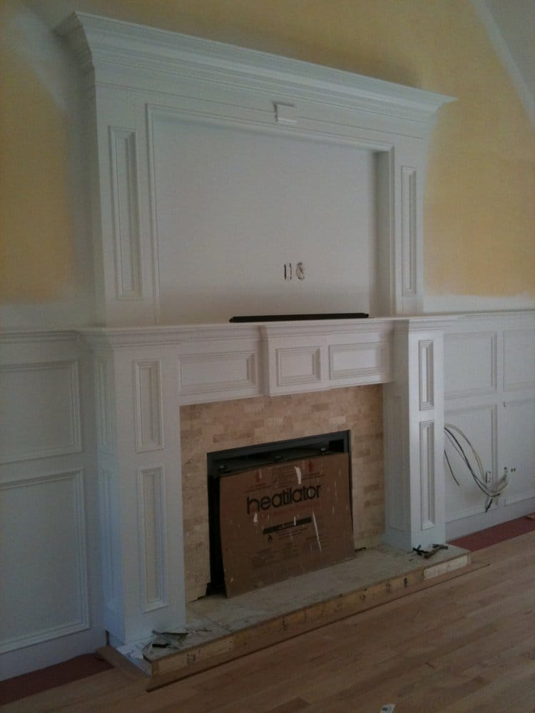 Custom Fireplace Mantel And Wainscoting In Living Room Yelp