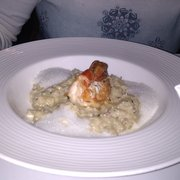 crab rissotto with king prawn