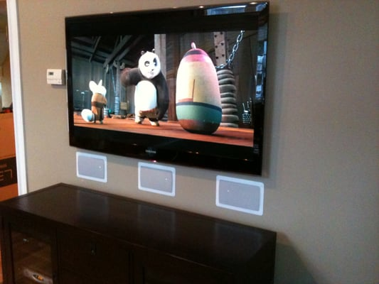 Slim Led Samsung Tv Wall Mounted With Flush Mount In Wall
