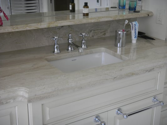 Crema Marfil marble countertops - Double Ogee edge Yelp
