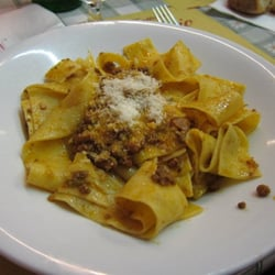Pappardella al ragu with a famous Florentine ingredient, boar.